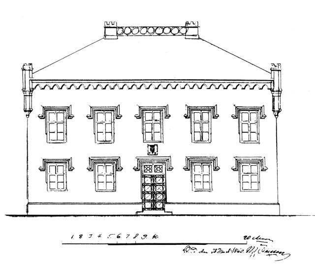 Byggmästare Johan P Nilssons fasadelevation för Slättängs corps-de-logi från 1860.